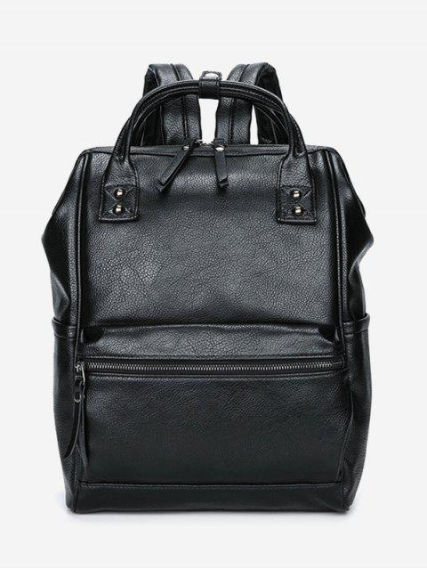 Top Handle Pebbled Faux Leather Mochila - Negro  Mobile