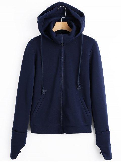 chic Fleece Zip Up Hoodie - PURPLISH BLUE S Mobile