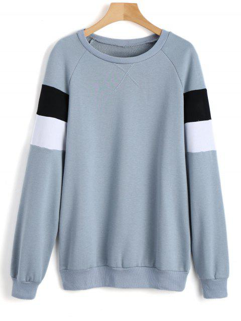 Color Block Raglan Sleeve Sweatshirt - Blaugrau S Mobile