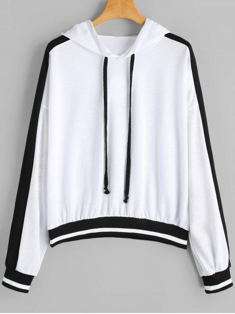 outfit Drawstring Oversized Two Tone Hoodie - WHITE M Mobile