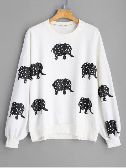 fancy Drop Shoulder Elephant Print Sweatshirt - WHITE ONE SIZE Mobile