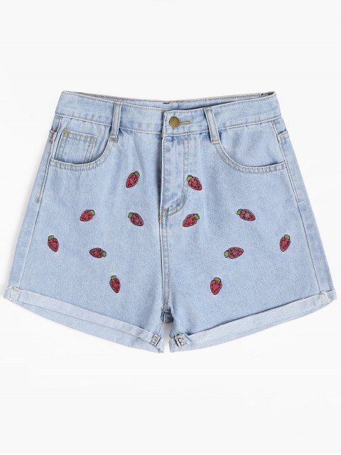 women Strawberry Embroidered Cuffed Denim Shorts - LIGHT BLUE L Mobile
