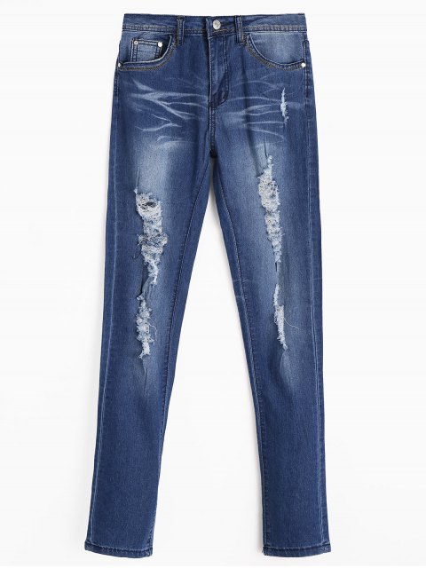 fancy Zippered Ripped Jeans with Pockets - DEEP BLUE XL Mobile