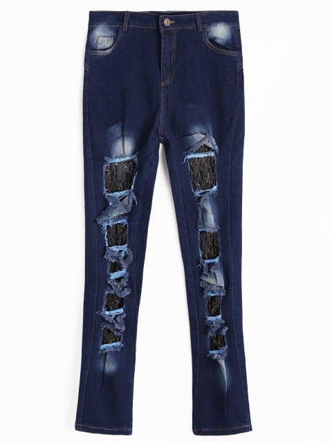 Jeans Découpé Effet en Dentelle - Bleu Foncé S Mobile