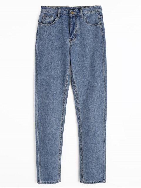 Jeans rectos con cremallera y bolsillos - Azul Denim L Mobile