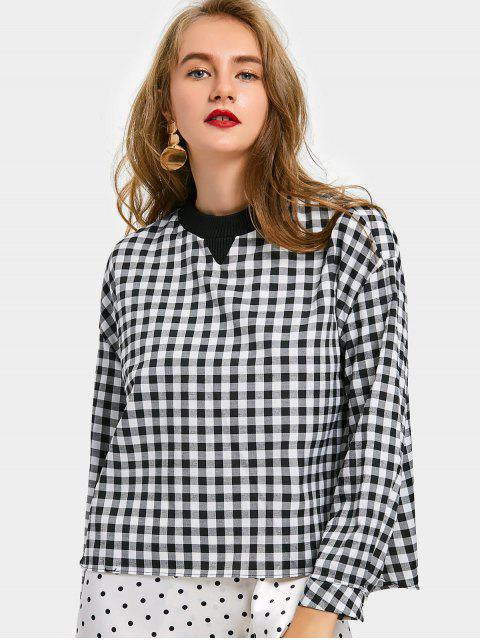 women Back Zip Oversized Checked Blouse - CHECKED M Mobile