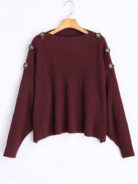 hot Slash Neck Button Embellished Sweater - DARK RED ONE SIZE Mobile
