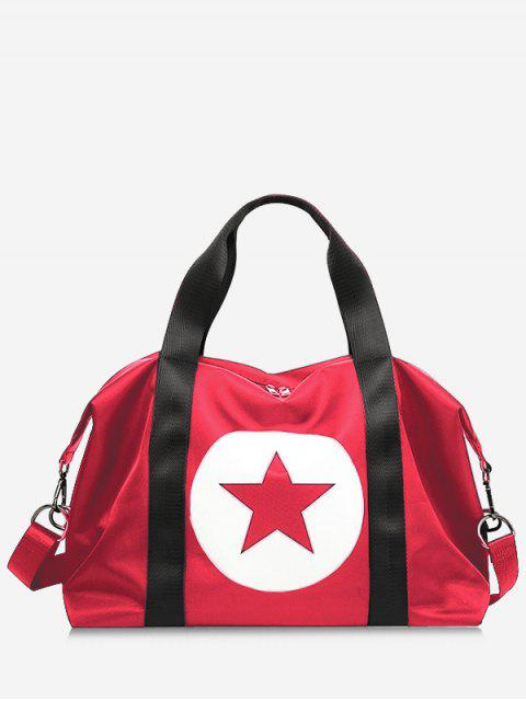 hot Star Color Block Gym Bag - RED  Mobile