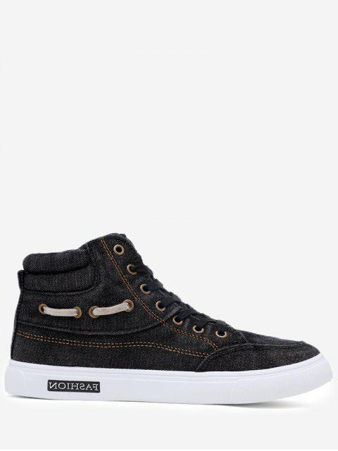 Stitching Denim Letter Skate Zapatos - Negro 44 Mobile