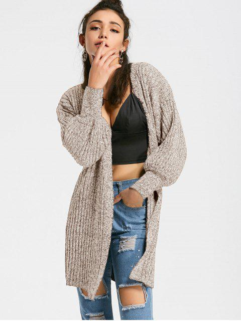 hot Heathered Lantern Sleeve Open Front Cardigan - APRICOT ONE SIZE Mobile