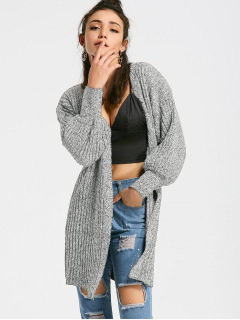 new Heathered Lantern Sleeve Open Front Cardigan - LIGHT GRAY ONE SIZE Mobile