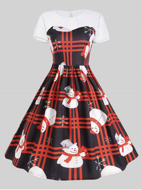 outfits Mesh Panel Plaid Christmas Snowman Party Dress - RED XL Mobile