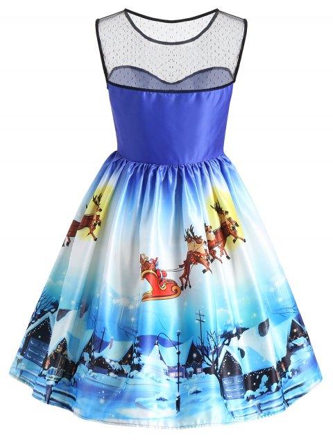 Vestido sin mangas con estampado de nieve de vista de nieve de Navidad - Azul L Mobile