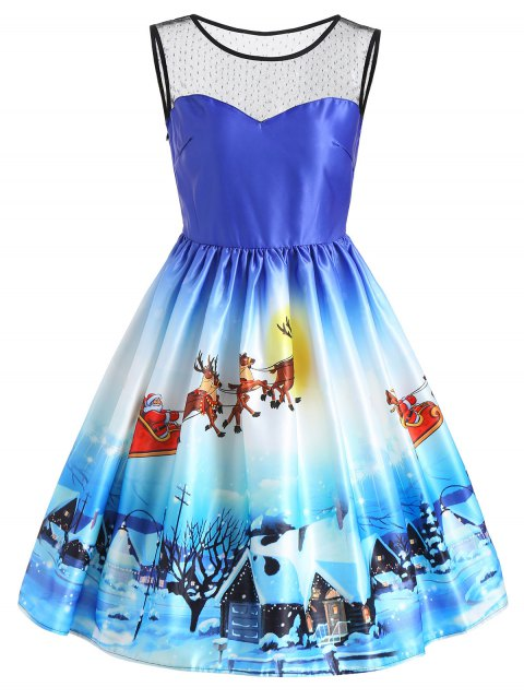 Vestido sin mangas con estampado de nieve de vista de nieve de Navidad - Azul 2XL Mobile