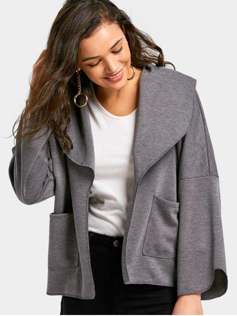 outfits High Low Coat with Pockets - GRAY S Mobile
