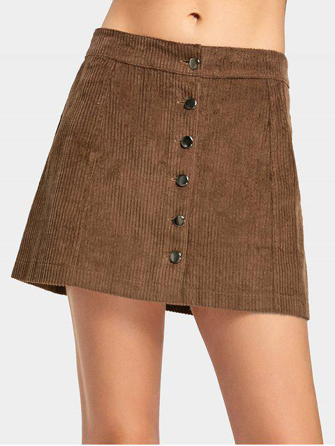 fancy Button Up A Line Mini Skirt - BROWN M Mobile