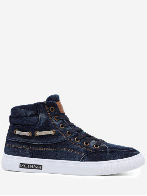 Stitching Denim Letter Skate Zapatos - Azul 43 Mobile