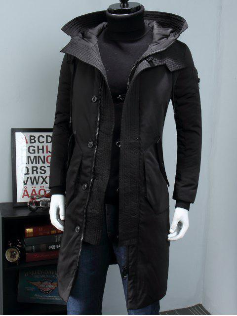 outfits Hooded Zip Pocket Longline Padded Coat - BLACK M Mobile