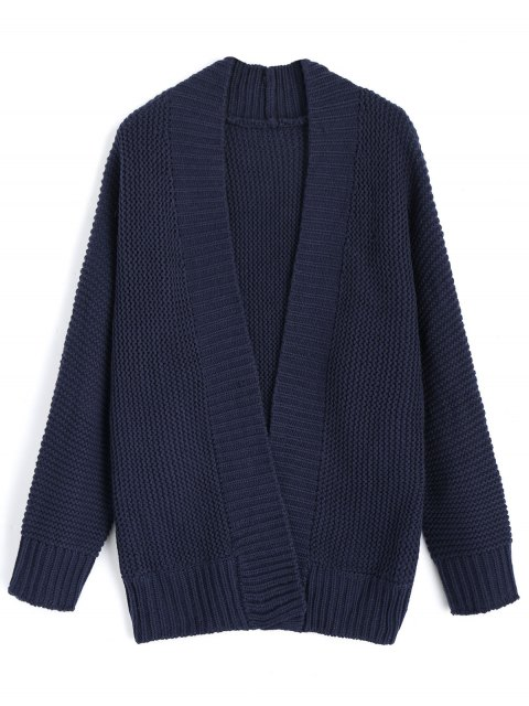 womens Long Sleeve Open Front Cardigan - PURPLISH BLUE ONE SIZE Mobile