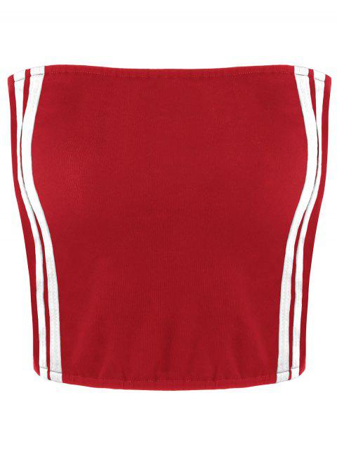 lady Cropped Striped Tube Top - RED STRIPE M Mobile