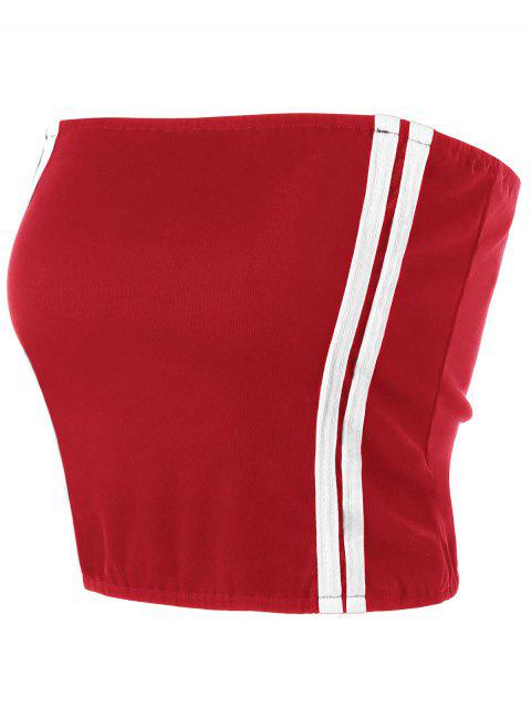 shop Cropped Striped Tube Top - RED STRIPE XL Mobile