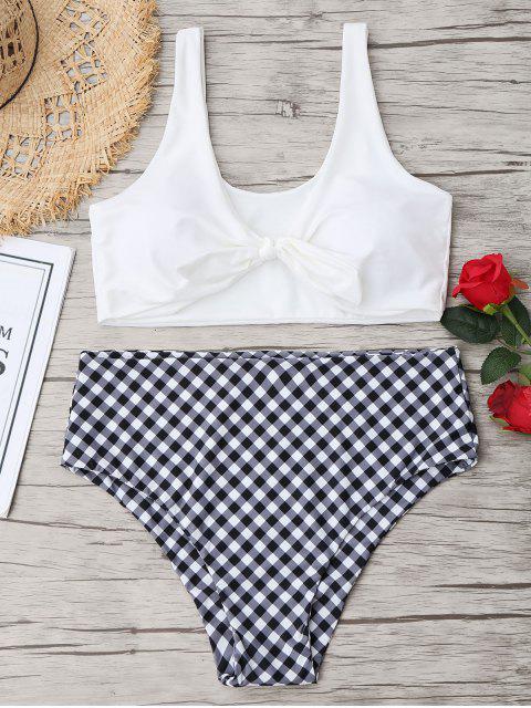 Plus Größe Knoten Bikini Top Mit Karierter Badehose - Weiß 4XL Mobile