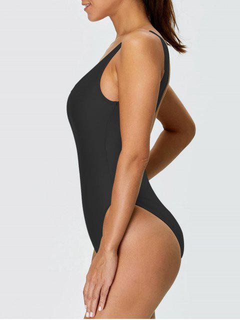 shop High Cut Backless Swimsuit - BLACK XS Mobile