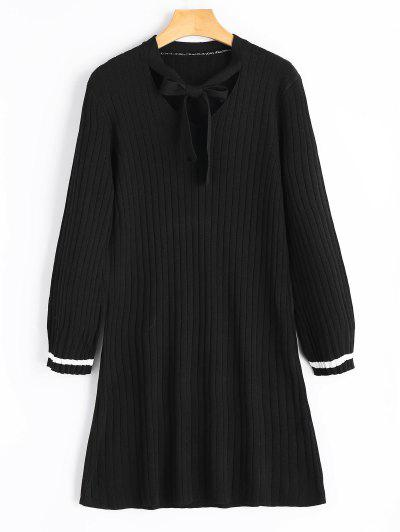 Bow Tie Collar Knitted Dress - Black