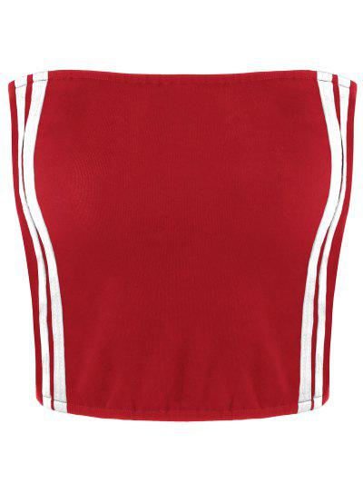 Cropped Striped Tube Top - Red Stripe L