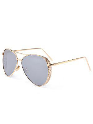 Outdoor Metal Frame Carved Pilot Sunglasses - Silver - Silver