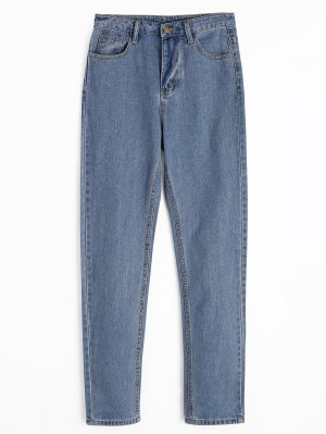 Zipper Fly Straight Jeans with Pockets