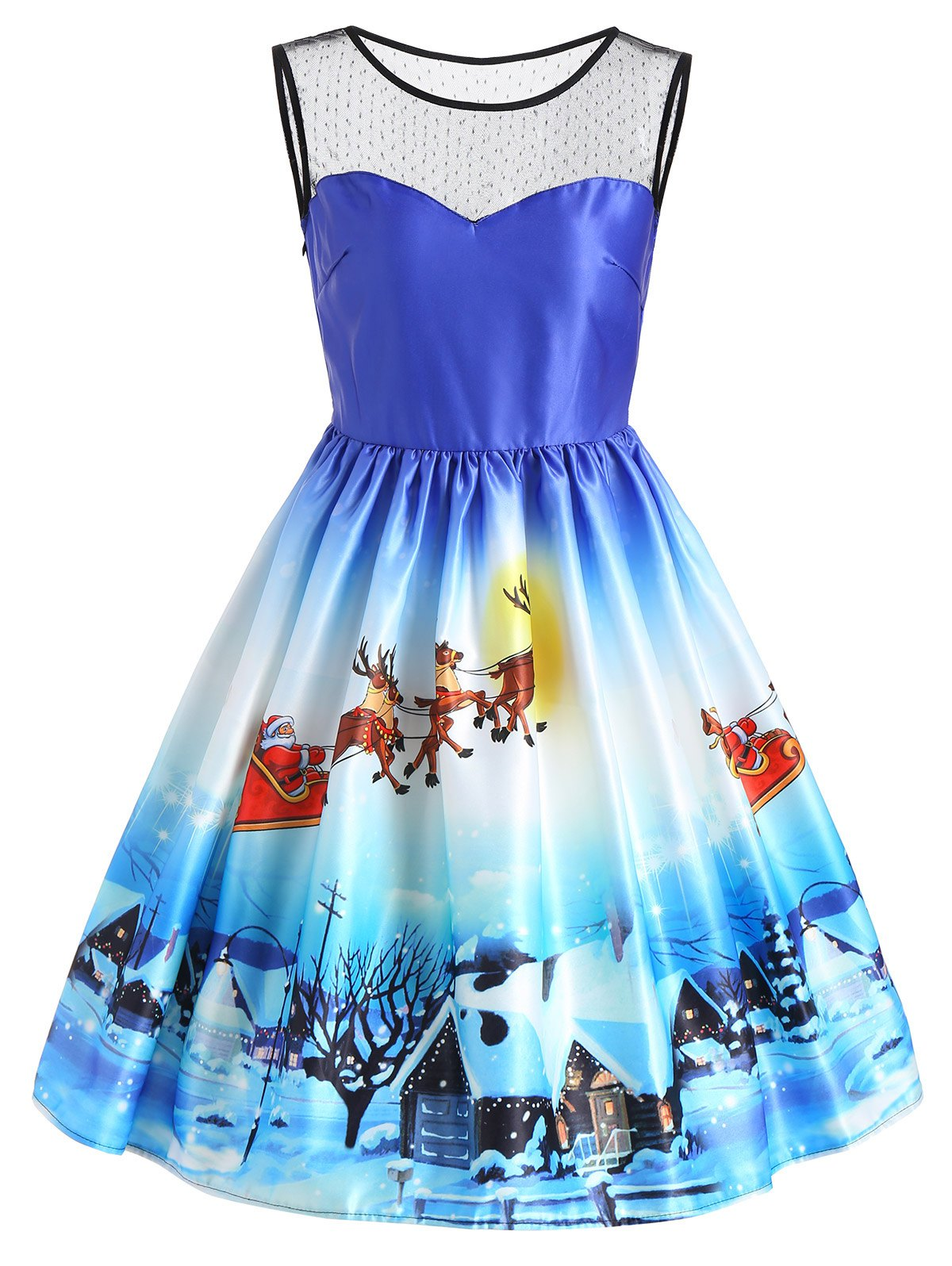 Christmas Sleeveless Snow View Print Vintage Dress