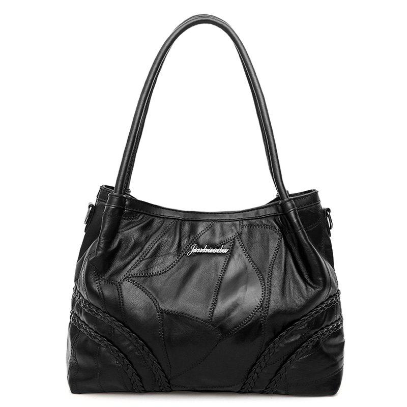 Stitching Braided Faux Leather Tote Bag 230542401