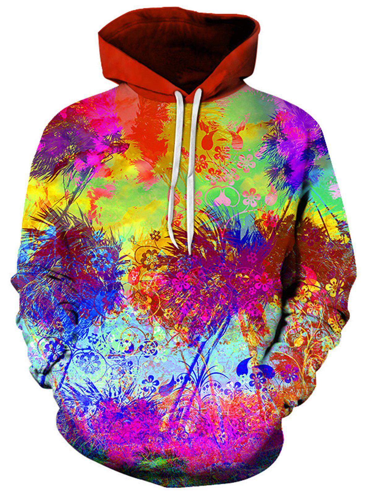 3D Tie Dye Florals Print Pullover Hoodie 230745004