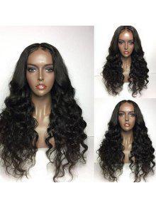 الجزء الأوسط منتفخ طويل فضفاض موجة شعر مستعار الاصطناعية - أسود