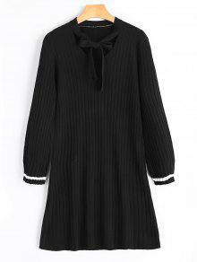 Vestido De Punto Con Cuello De Pajarita - Negro