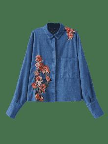 Con Mezclilla Frontal De Denim Camisa Bordado L Blue Bolsillo Floral 5qwEIIfU