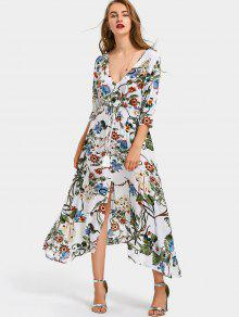 فستان ماكسي طباعة الأزهار مربوط انقسام - أبيض L
