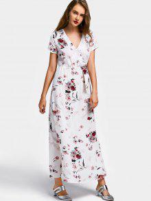 Vestido Largo De Manga Corta Floral Surplice - Blanco L