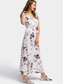 93442028f62 42% OFF  2019 Short Sleeve Floral Surplice Maxi Dress In WHITE