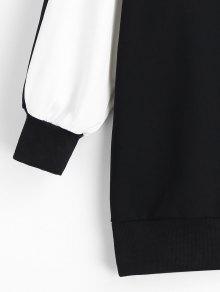 Sudadera De Dos Y Blanco Tonos Capucha Negro L Con qqB7w61