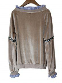 243;n 225;ceo Velvet Panel Marr Sudadera Stripes Loose Gris xq0awR7AB