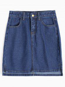 Saia De Lã Com Fecho Lateral - Jeans Azul M