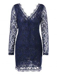 تغرق الرقبة شير كم طويل فستان الدانتيل - الأرجواني الأزرق M
