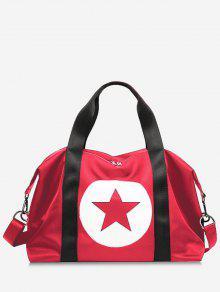 Star Color Block Gym Bag - Vermelho