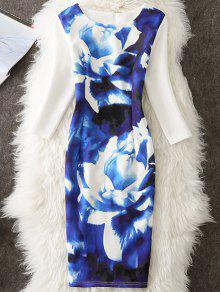 ظهر زهرة زهرة رسمت بوديكون اللباس - أزرق 2xl