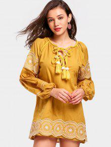 Vestido Curto Com Decote Laços De Cordão   - Amarelo Gengibre S