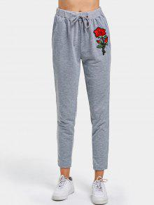 Rose Applique Drawstring Pants - Gris S