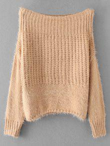 Fuzzy Off Hombro Jersey Suéter - Caqui