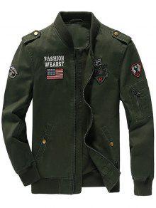 Zip Up Epaulet Design Jacket Remendado - Verde M